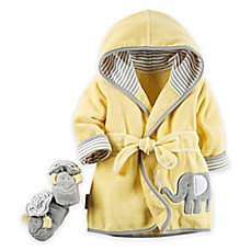 image of carter's® 2-Piece Elephant Robe and Booties Set in Yellow/Grey