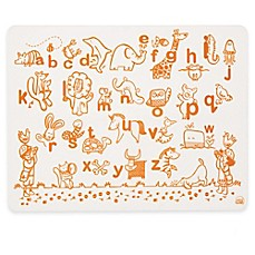 image of Modern Twist Alphabet Animals Map Doodle Placemat in White/Orange