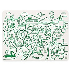 image of Modern Twist Transportation Doodle Placemat in White/Green