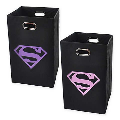 Modern littles superman logo folding laundry basket bed bath beyond - Superhero laundry hamper ...