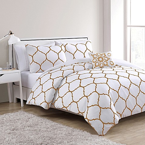 Vcny Ogee Comforter Set In Gold White Bed Bath Amp Beyond