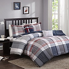 image of Cozy Soft® Caleb Comforter Set in Grey/Navy/Red