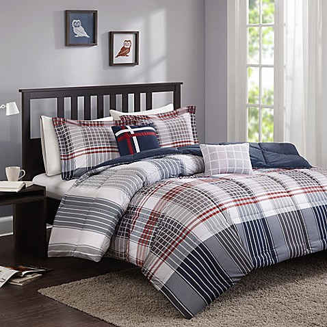 Cozy Soft Caleb Comforter Set In Grey Navy Red Bed Bath