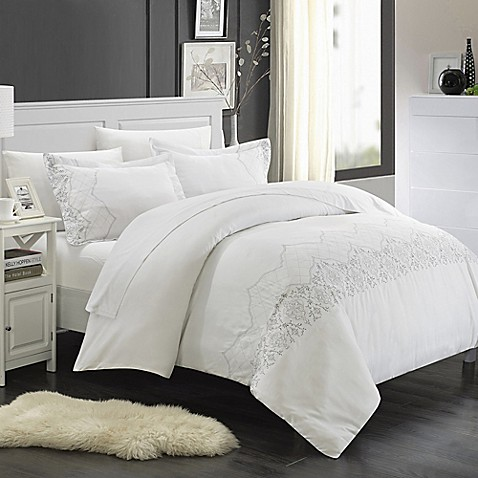 Chic Home Saunder 7 Piece Duvet Cover Set In White Bed