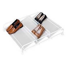 image of 3-Shelf Underbed Rolling Shoe Rack in White