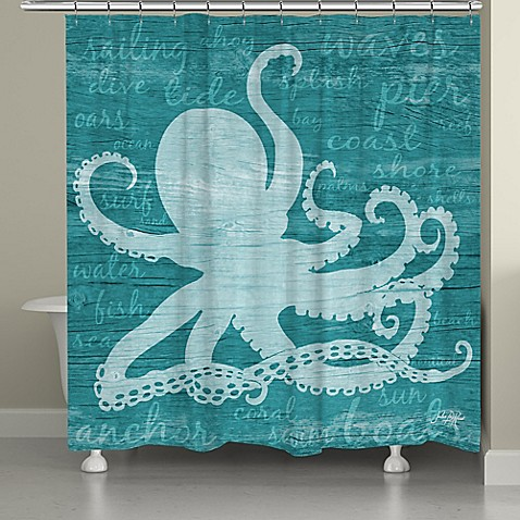 Laural Home Octopus Words Shower Curtain In Teal Bed Bath Beyond