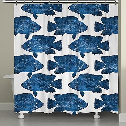 Laural Homereg Indigo Fish Shower Curtain