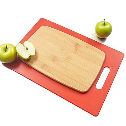Architec poly bamboo 2 piece cutting board set in red for Architec cutting board