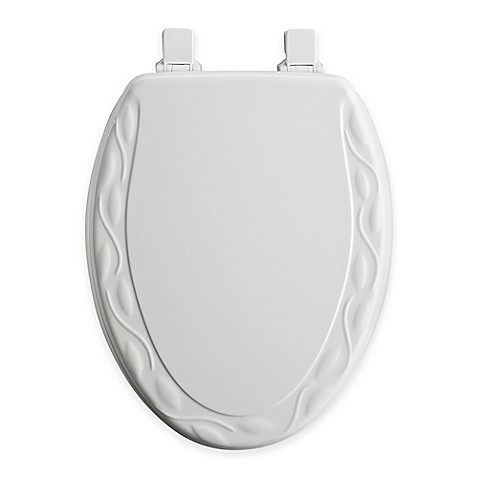 Mayfair Ivy Elongated Molded Wood Toilet Seat In White With Easy Clean