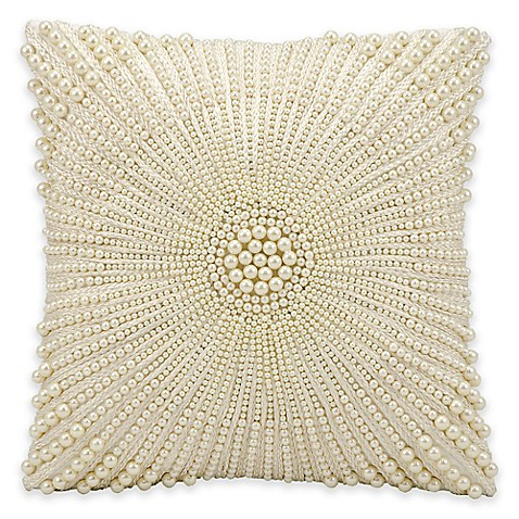 Kathy Ireland Home by Gorham 12-Inch Square Throw Pillow in Ivory - Bed Bath & Beyond