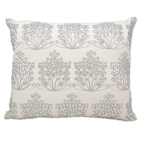 Throw Pillows Matching Curtains : Michael Amini Ice Flowers Rectangle Throw Pillow in White - Bed Bath & Beyond