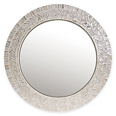 image of 18-Inch Round Capiz Large Mirror in Ivory