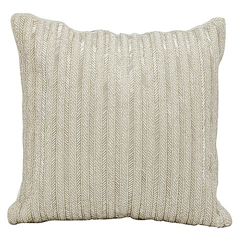 Throw Pillows Matching Curtains : Michael Amini Beaded Stripes Square Throw Pillow - Bed Bath & Beyond