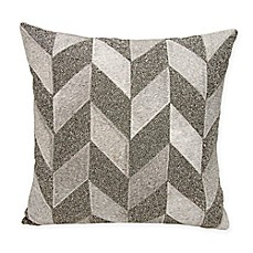 image of Mina Victory Couture Shimmer Chevron Square Throw Pillow in Grey