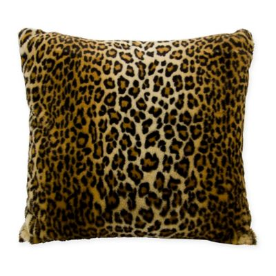 Brown Fur Throw Pillows : Buy Mina Victory Faux Fur Leopard Square Throw Pillow in Brown from Bed Bath & Beyond