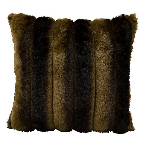 Mina Victory Fur Faux Mink Square Throw Pillow In Brown