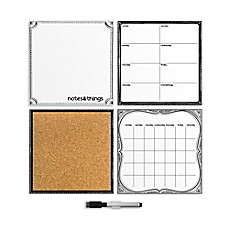 image of WallPops!® Dry-Erase Calendar/Weekly Planner/Notes Board/Cork Board Organizer Set in White
