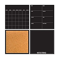 image of WallPops!® Dry-Erase 4-Piece Calendar/Weekly Planner/Notes Board/Cork Board Set in Black