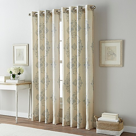 Bailey Damask Grommet Top Window Curtain Panel - Bed Bath & Beyond
