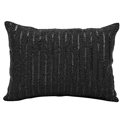 Buy Michael Amini Beaded Stripes Rectangle Throw Pillow in Black from Bed Bath & Beyond