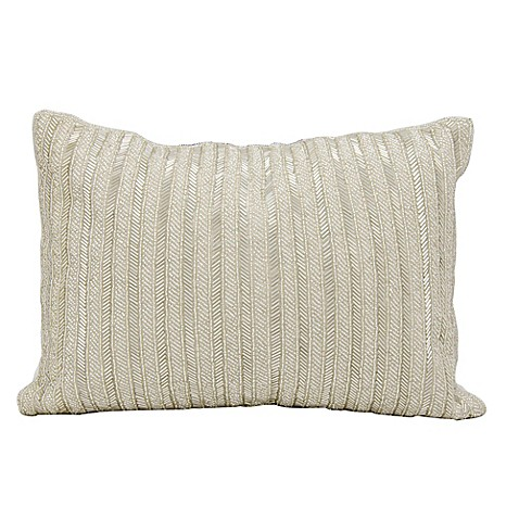 Silver Beaded Decorative Pillow : Buy Michael Amini Beaded Stripes Rectangle Throw Pillow in Silver from Bed Bath & Beyond