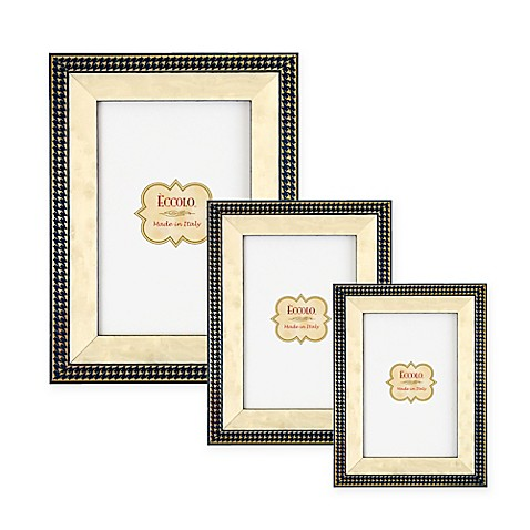 Eccolo® Gold Onlay Frame in Navy Houndstooth - Bed Bath & Beyond