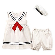 image of Jayne Copeland 3-Piece Nautical Dress with Red Tie, Diaper Cover, and Hat Set in White