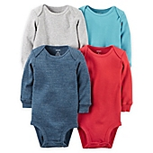 image of carter's® 4-Pack Long Sleeve Bodysuits in Multicolor