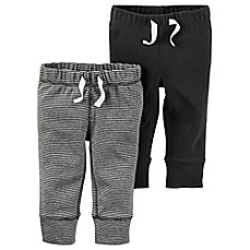 image of carter's® 2-Pack Babysoft Ribbed Cotton Faux-Drawstring Pant in Dark Grey/Stripe
