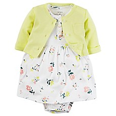 image of carter's® 2-Piece Babysoft Floral Print Bodysuit Dress and Cardigan Set in Yellow/Pink