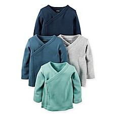 image of carter's® 4-Pack Long Sleeve Kimono T-Shirts in Aqua/Teal/Grey/Navy