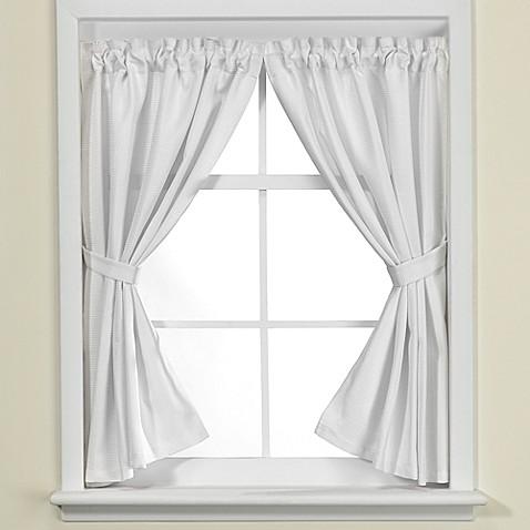 . Westerly Bathroom Window Curtain Pair in White   Bed Bath   Beyond