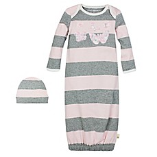 image of Burt's Bees Baby® 2-Piece Stripe Gown and Hat Set in Heather Grey/Pink