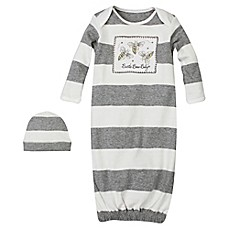 image of Burt's Bees Baby® Size 0-9M Bees 2-Piece Organic Cotton Striped Gown and Hat Set in Ivory/Grey