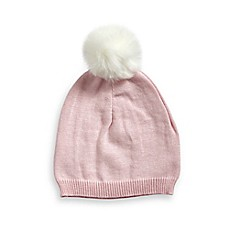 image of Curls & Pearls Faux Fur Pom Infant Hat in Pink/White