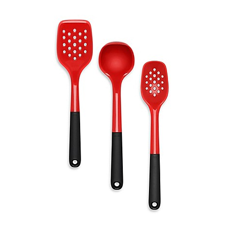 Oxo good grips silicone utensils in red bed bath beyond for Bathroom utensils