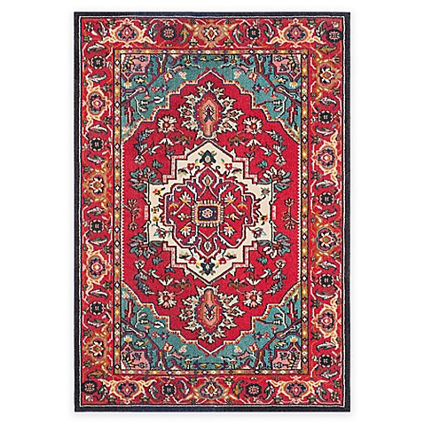 safavieh monaco traditional area rug in red turquoise bed bath beyond. Black Bedroom Furniture Sets. Home Design Ideas