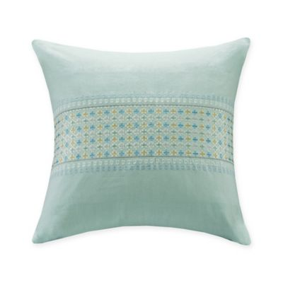 Echo Design Throw Pillows : Echo Design Lagos Embroidered Stripe Throw Pillow in Aqua - Bed Bath & Beyond