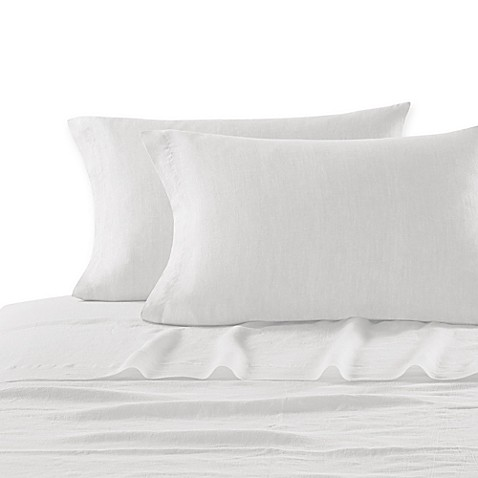 buy kassatex lino queen fitted sheet in white from bed bath beyond. Black Bedroom Furniture Sets. Home Design Ideas
