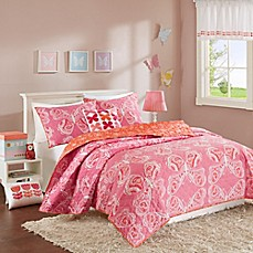 image of INK+IVY Kids Julia Reversible Coverlet Set in Pink