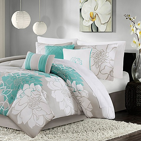 Madison Park Lola 7 Piece Comforter Set In Aqua Bed Bath