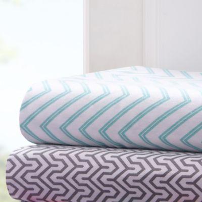 Patterned Jersey Knit Sheets : Intelligent Design  Jersey Knit Chevron Printed Sheet Set - Bed Bath & Be...