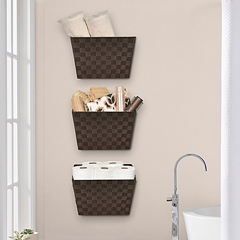 Wall Hanging Baskets in Chocolate - Set of 3