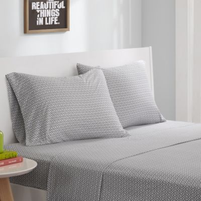 Patterned Jersey Knit Sheets : Buy Intelligent Design  Jersey Knit Geo Printed Twin Sheet Set in Grey from B...