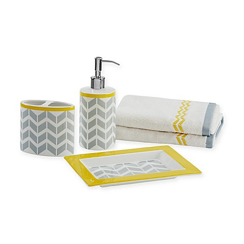 Buy intelligent design nadia 5 piece bath accessory set in for Yellow bathroom accessories sets