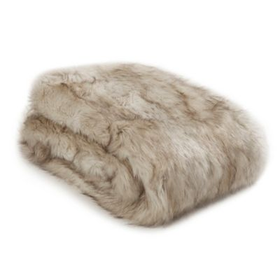 image of Wild Mannered Luxury Long Hair Faux Fur Throw Blanket in Champagne Fox