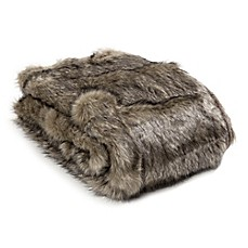 image of Wild Mannered Luxury Long Hair Faux Fur Throw Blanket in Tawny Fox