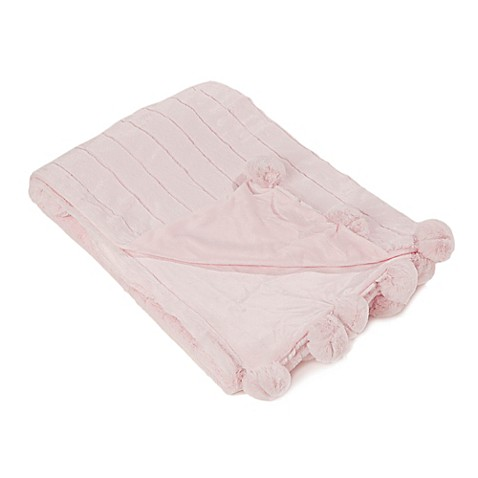 buy luxe mink faux fur pom pom throw blanket in light pink from bed bath beyond. Black Bedroom Furniture Sets. Home Design Ideas