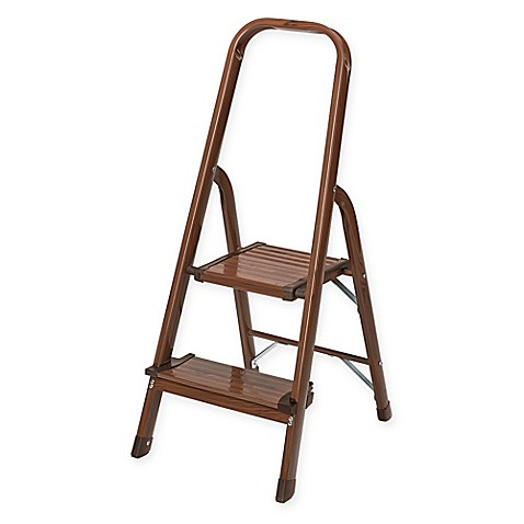 Polder 174 2 Step Ultralight Step Stool In Walnut Bed Bath