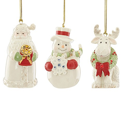 Lenox 174 Gemmed Christmas Ornaments Set Of 3 Bed Bath